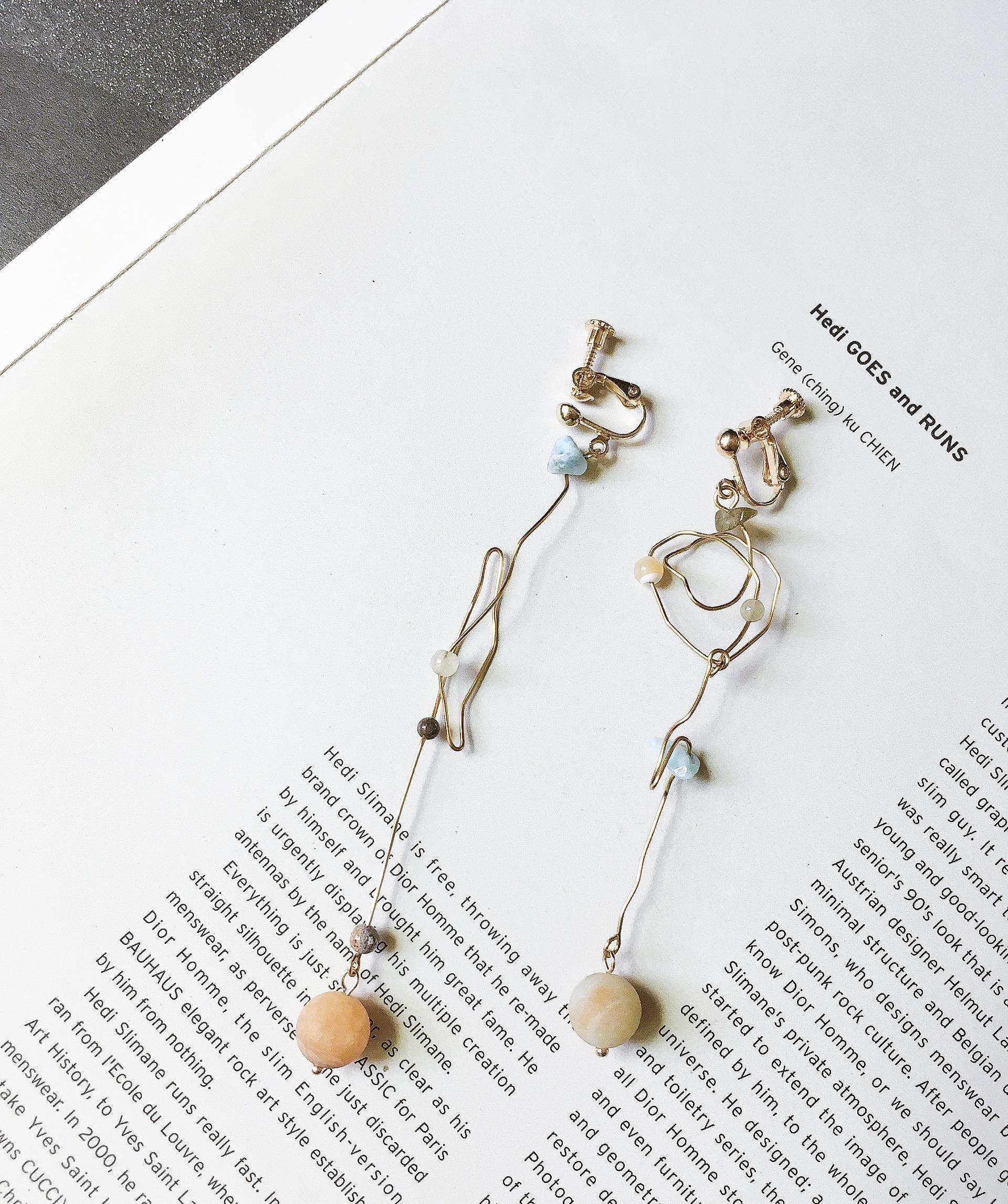 塗鴉 曲線礦石耳環