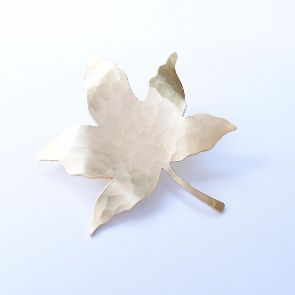 楓葉  黃銅胸針