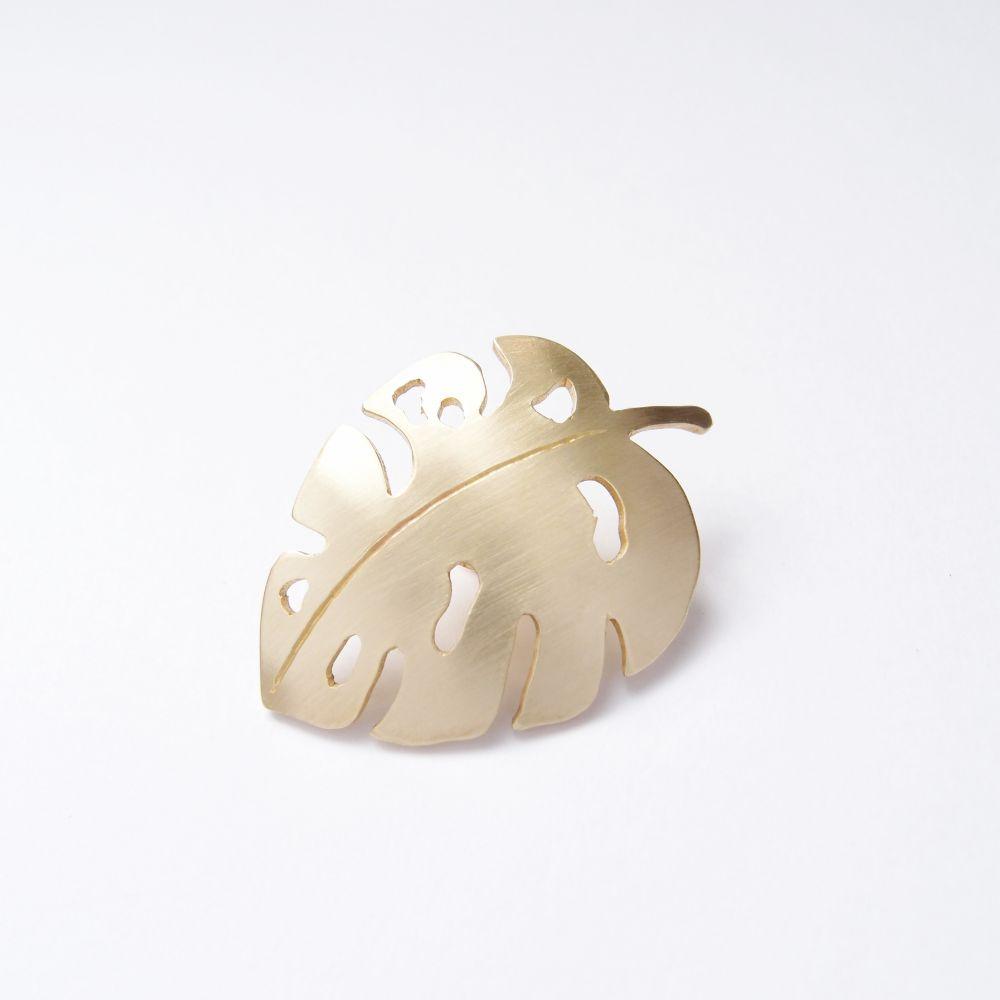 觀葉植物8 黃銅 胸針