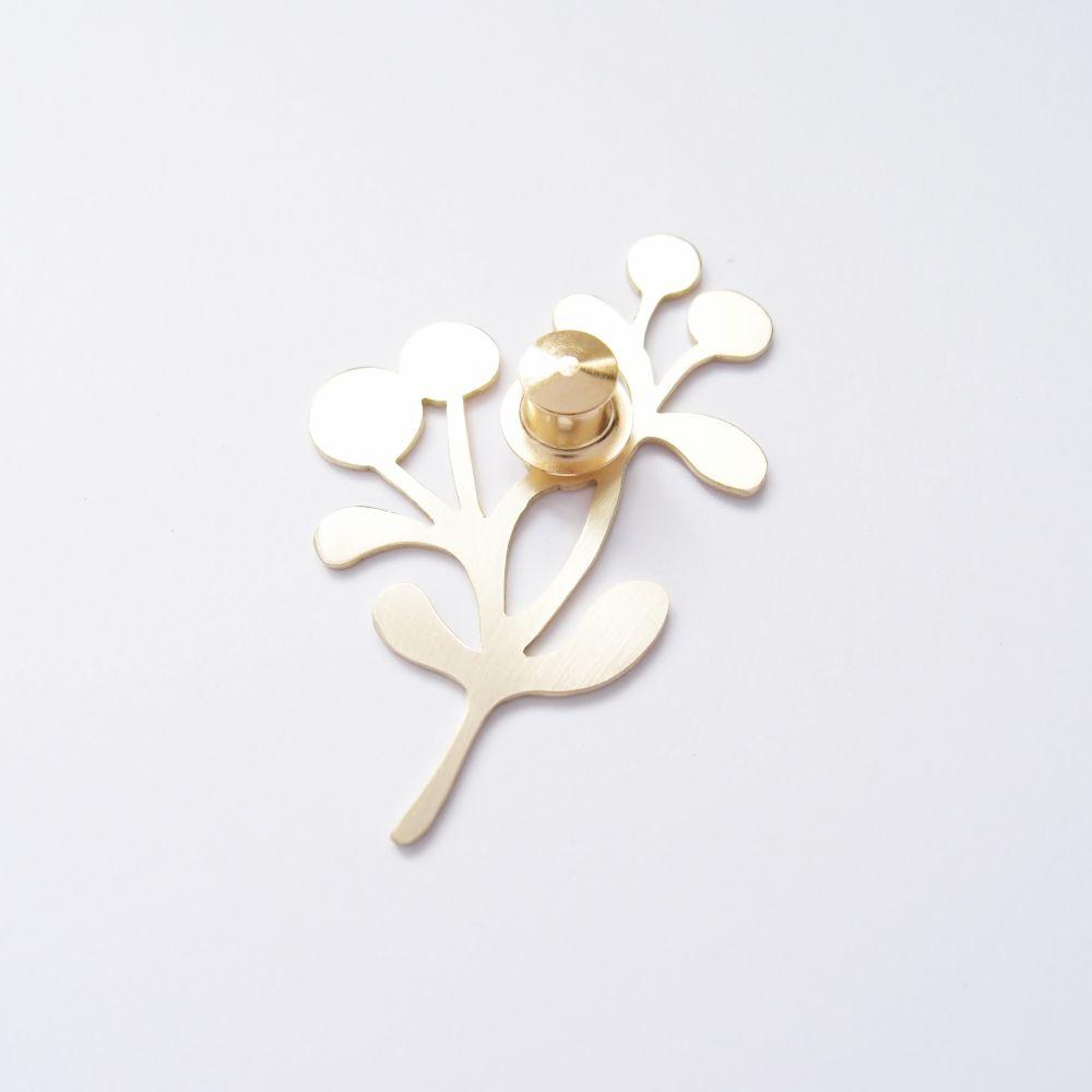 樹、果實2 黃銅胸針