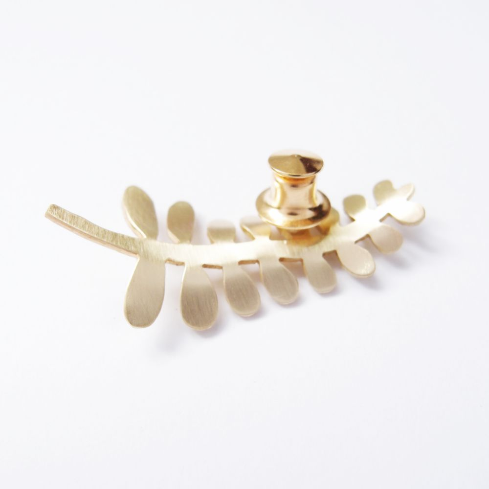 觀葉植物6 黃銅 胸針