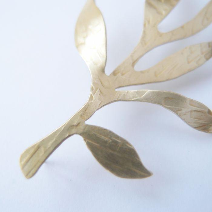 觀葉植物5 黃銅 胸針
