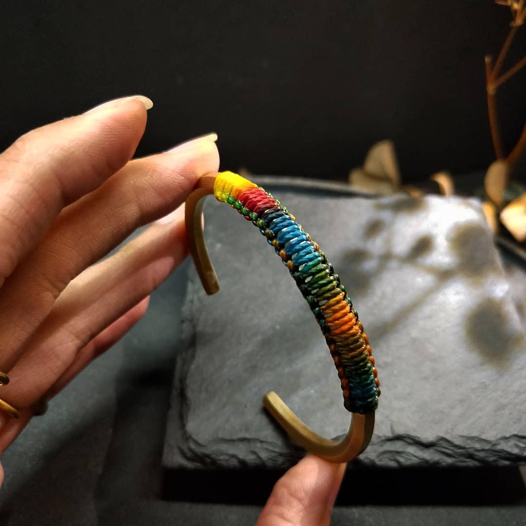 平權彩虹-特殊款-六角黃銅彩虹蠟繩手環