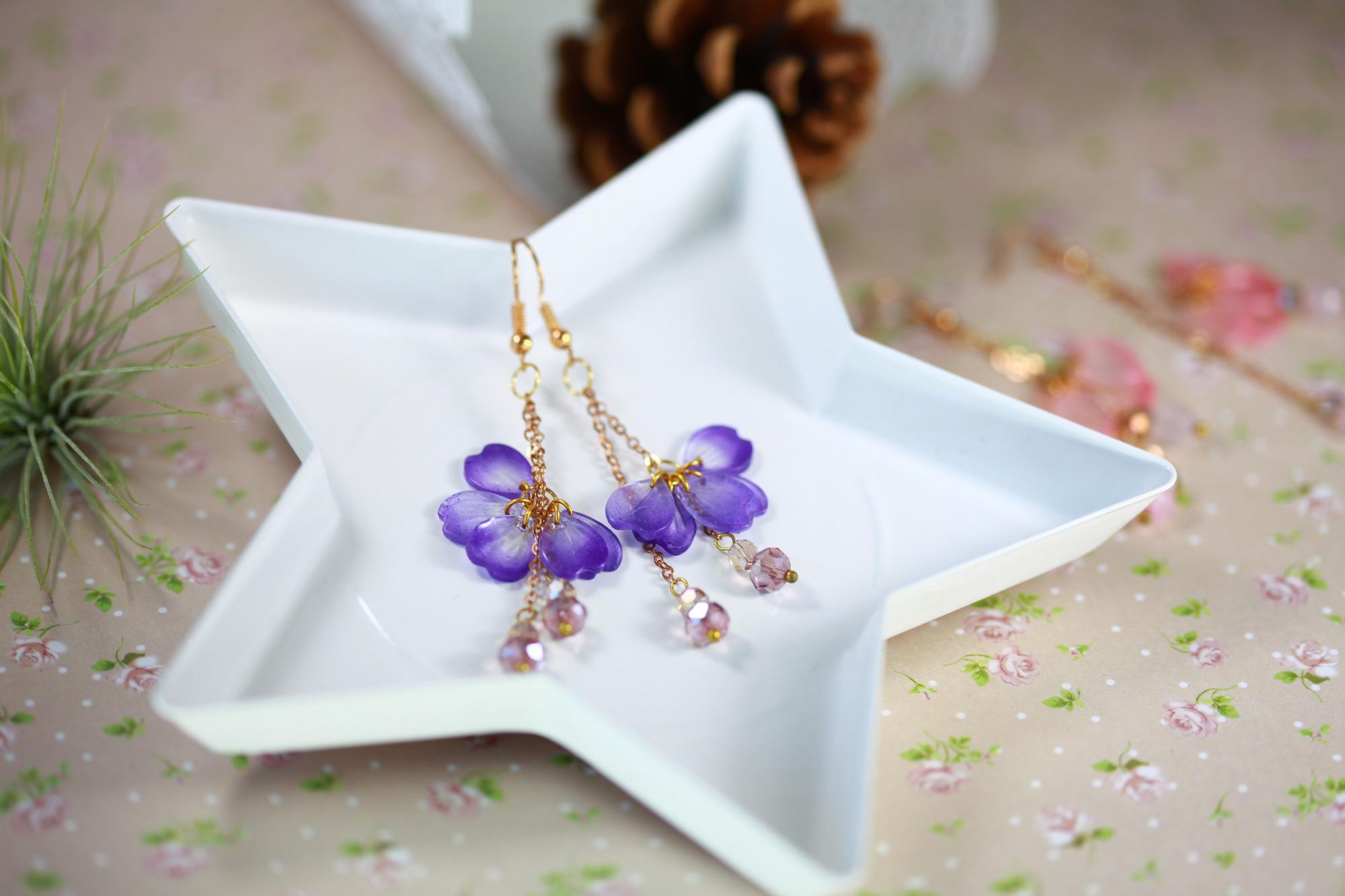 櫻花舞動-紫蘿蘭色(純銀針耳環-手工訂製)