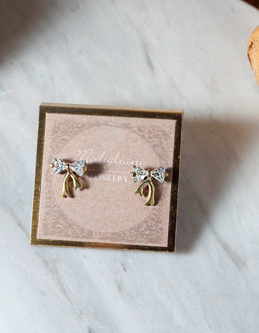 蝴蝶結貼式耳環