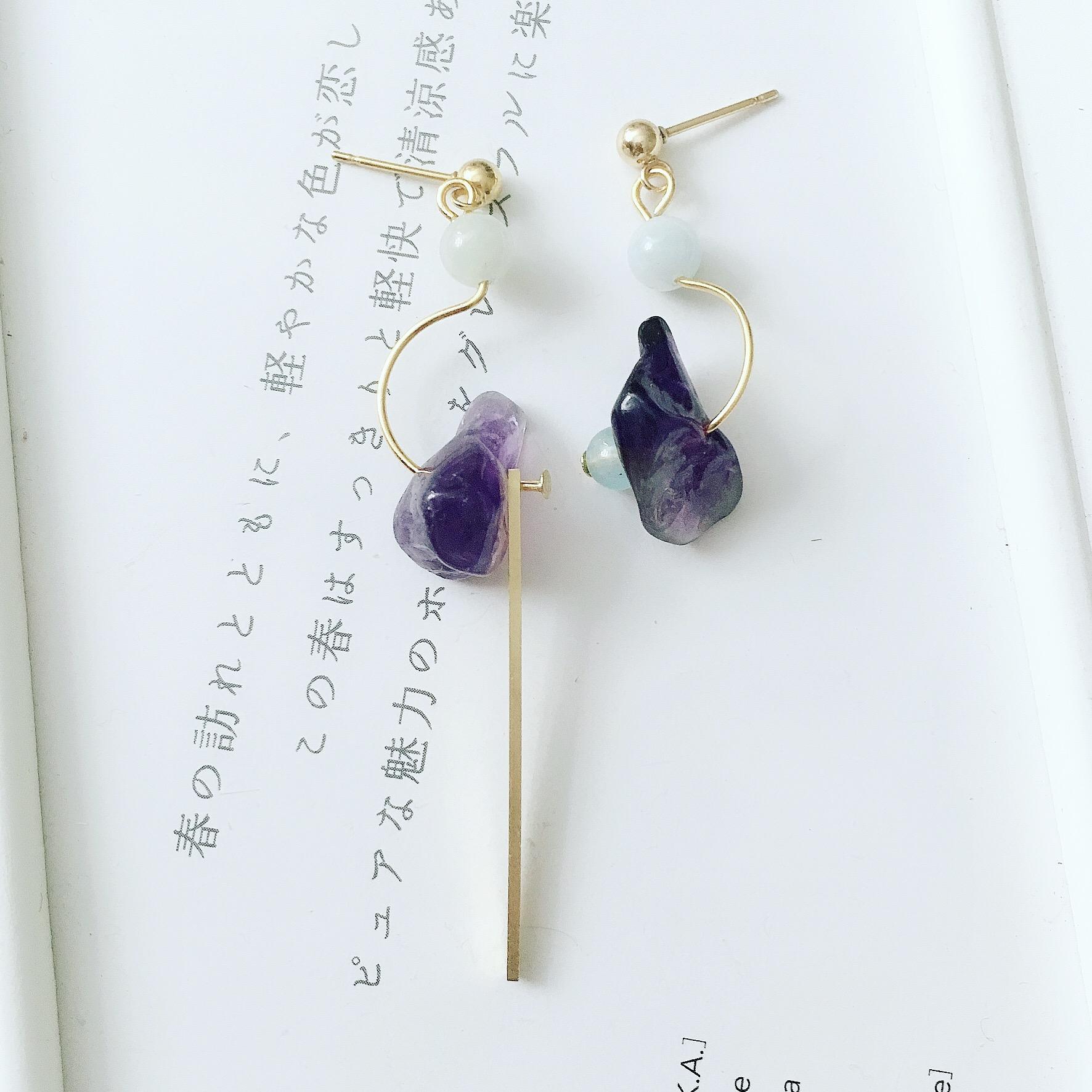 不對稱紫水晶耳環