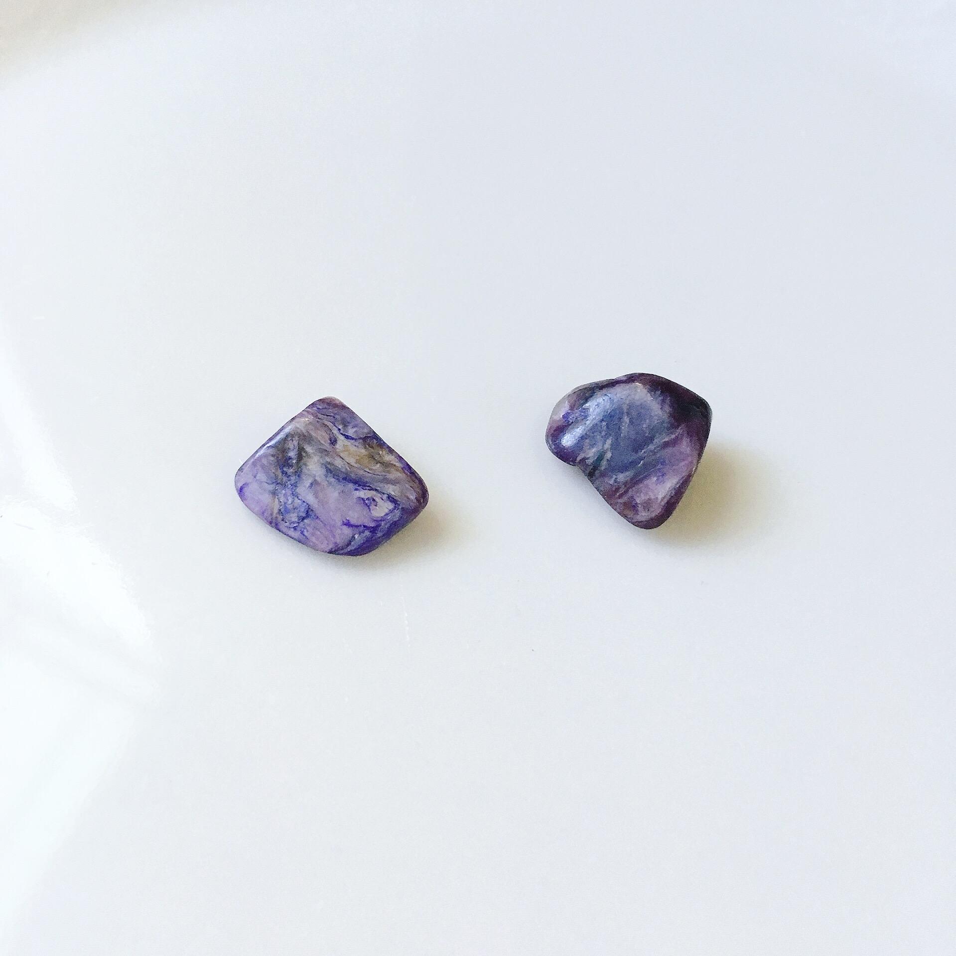 紫龍晶 原礦耳環 單支 大小約8mm