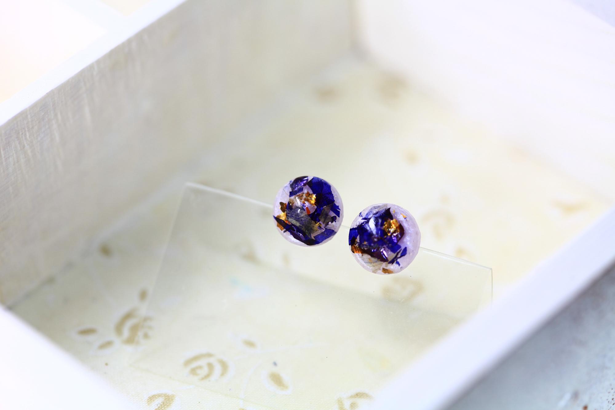 紫陽晴空-桔梗紫(純銀針耳環-手工訂製)