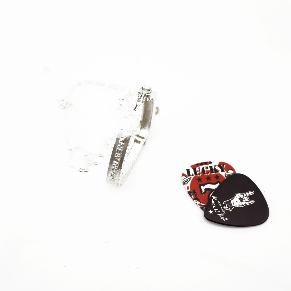 PICK HOLDER 開關式吉他彈片收納盒項鍊 925純銀
