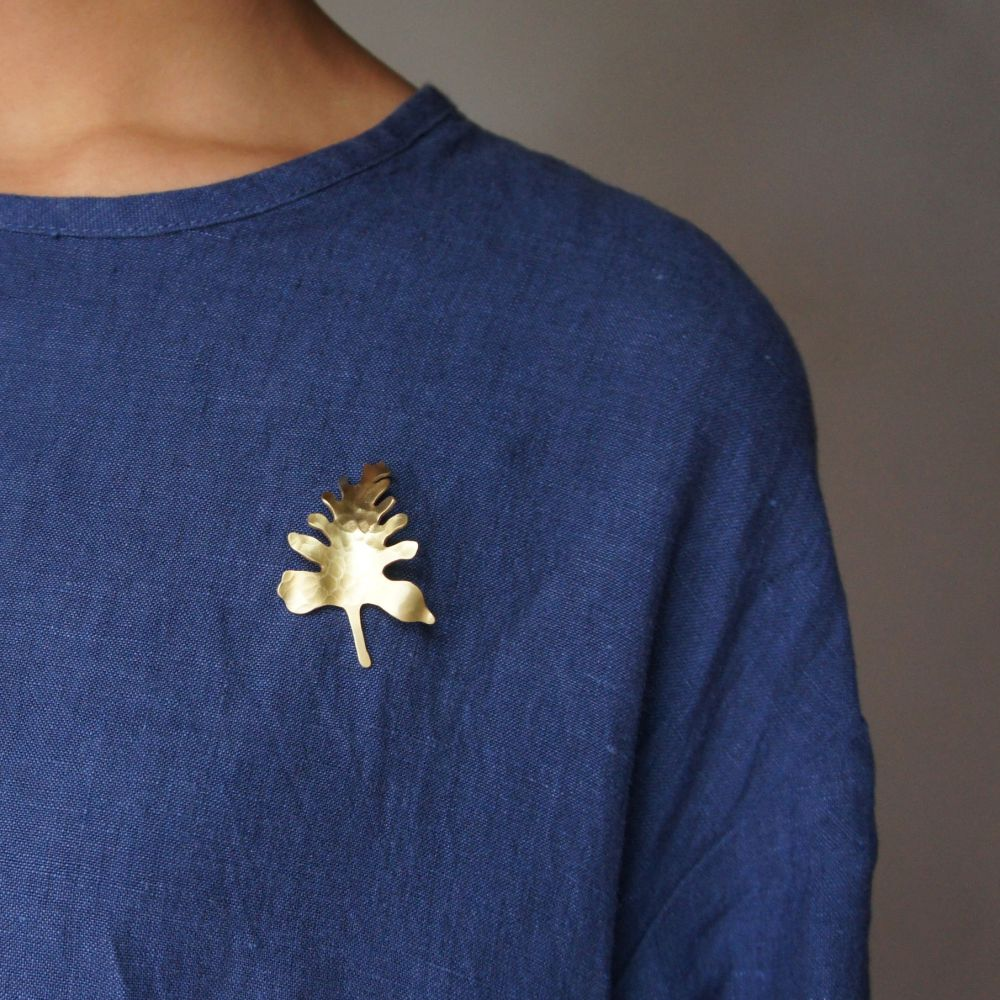觀葉植物2 黃銅 胸針