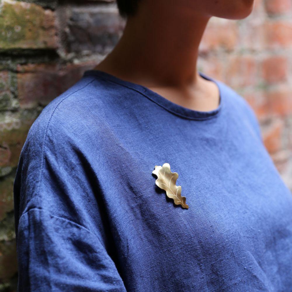 觀葉植物7 黃銅 胸針