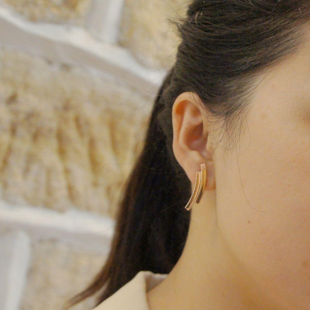 幾何風景11 玫瑰金屬耳環