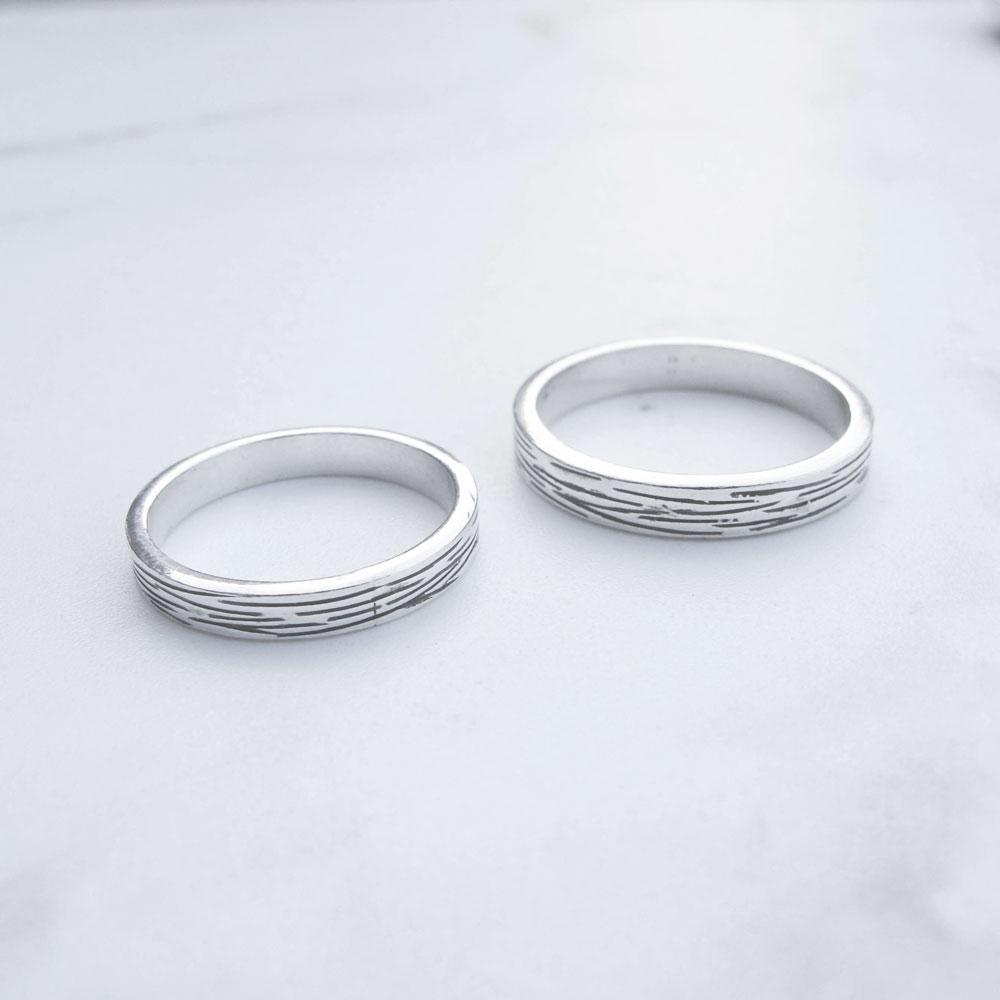 【手工銀飾 客製/DIY】木紋 純銀對戒