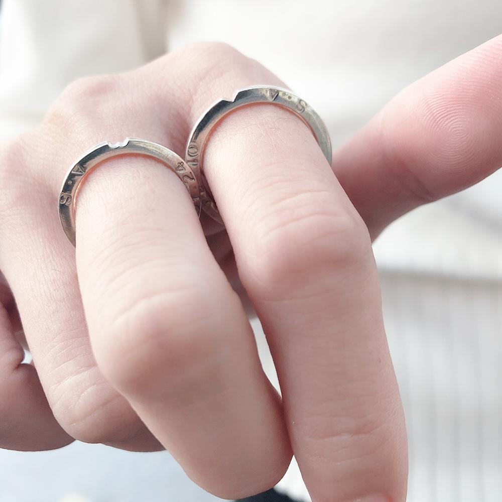 【手工銀飾 客製/DIY】愛的狂想曲×愛心×敲字 純銀對戒