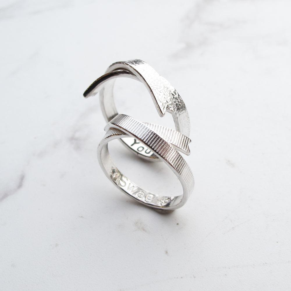 【手工銀飾 客製/DIY】緞帶×壓紋×純銀女戒