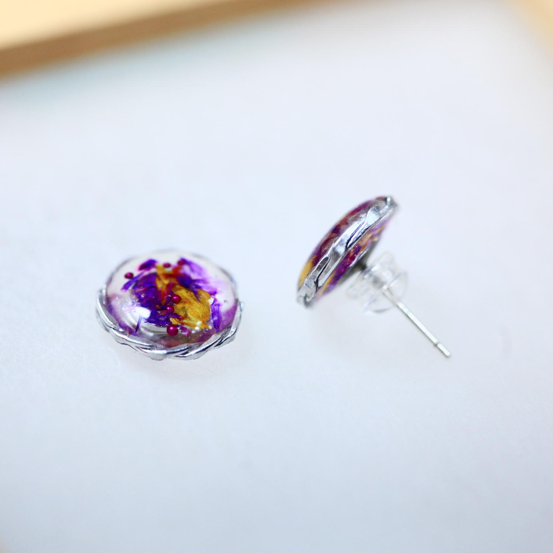 紫金永生花(純銀針耳環-手工編織訂製)