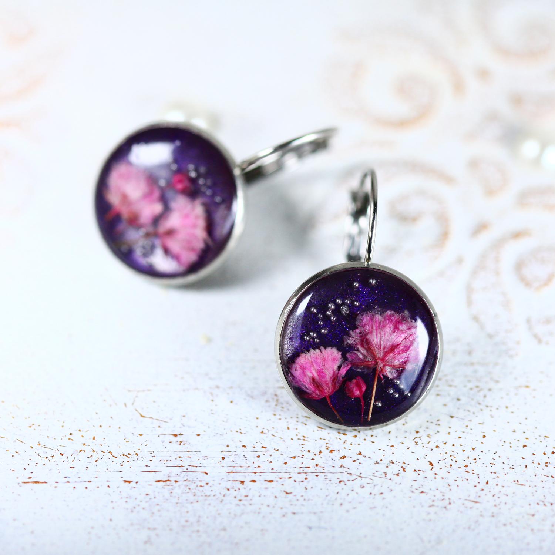 復古法式銀紫永生花(316不銹鋼耳環-手工訂製)