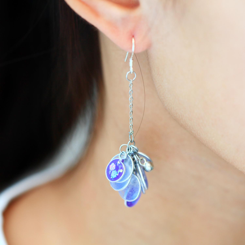 花兒飛飛-漸層紫(純銀針耳環-手工訂製)