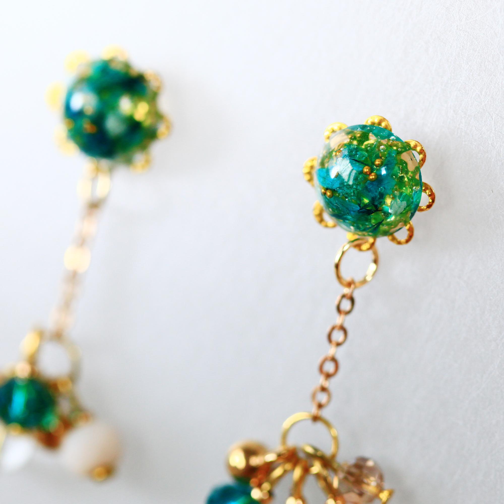 春植-湖藍綠(純銀針耳環-手工訂製)