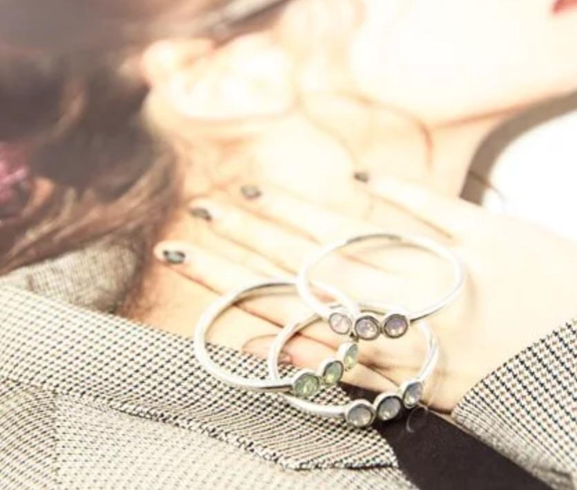 輕奢全純銀飾 新銳設計師展售系列 - 海藍寶石.施華洛世奇.閃雲石戒指