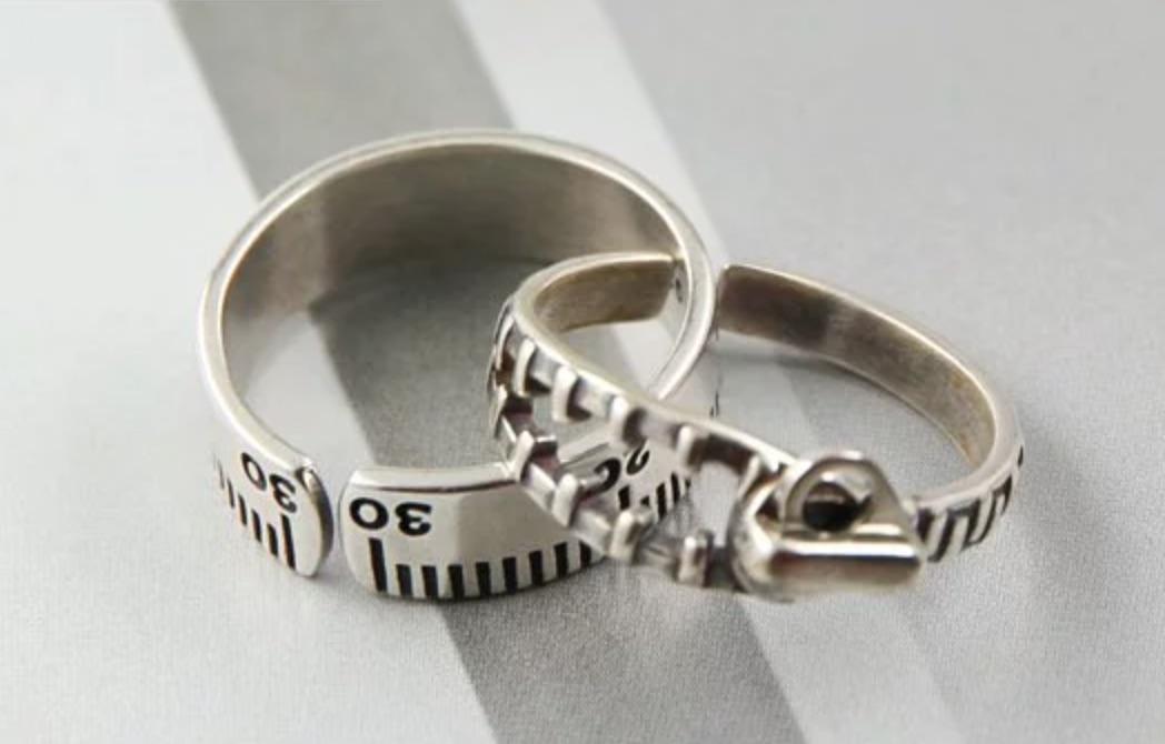尺與拉鍊玩趣純銀中性FREE SIZE戒指