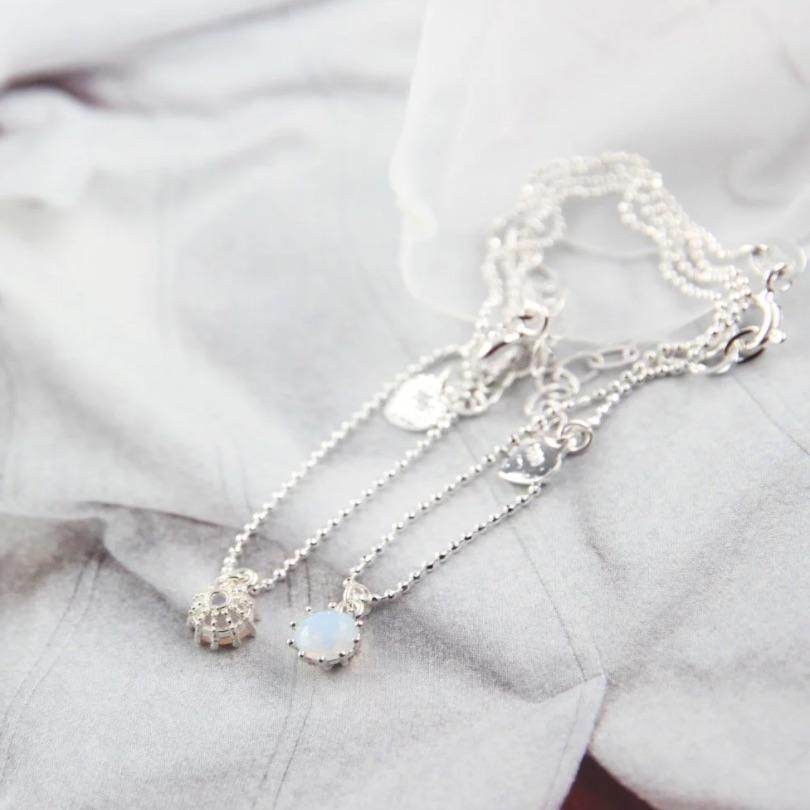 施華洛世奇水晶 & 海藍寶石 純銀腳鍊