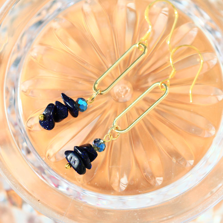 藍砂之心-星空藍(純銀針天然石耳環-手工訂製)