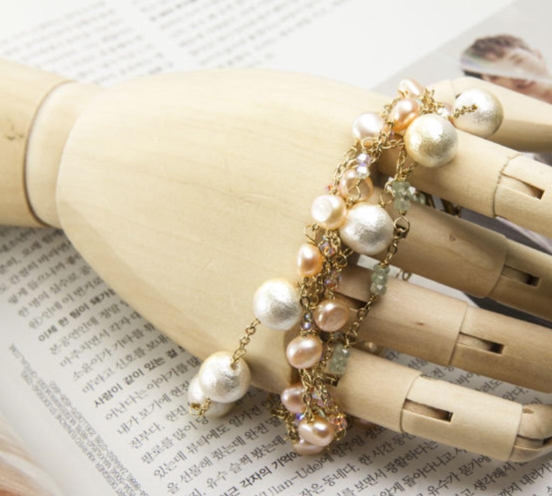 韓國黃銅系列- 繽紛的施華洛世奇 手工編織輕珠寶