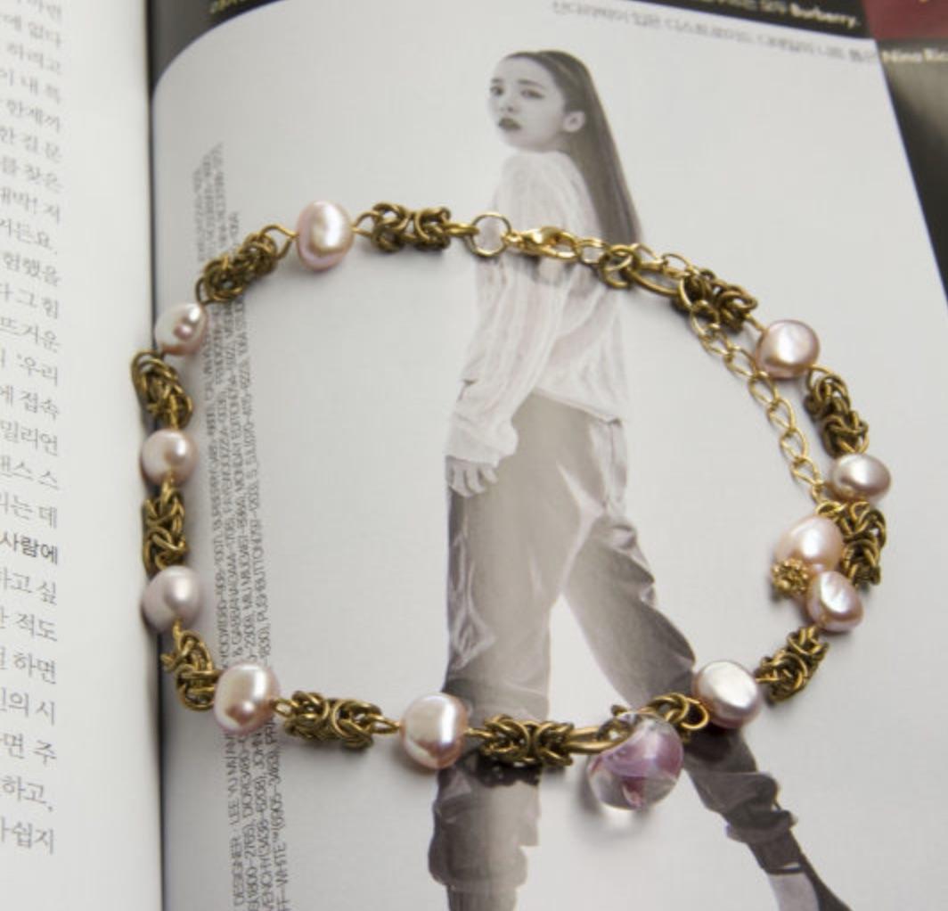韓國黃銅系列- 琉璃與珍珠 手工輕珠寶