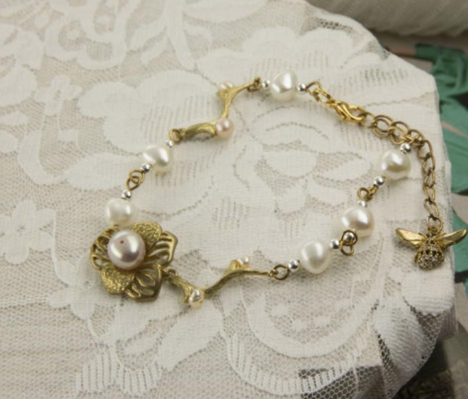 韓國黃銅系列- 花園水晶與棉珍 手工輕珠寶