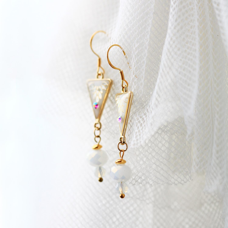 微金葉紋-珍珠白(純銀針耳環-手工訂製)