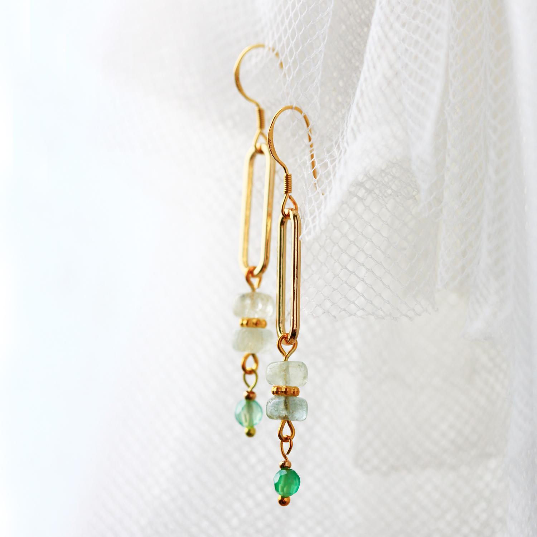 綠萌之心-淡水綠(純銀針天然石耳環-手工訂製)