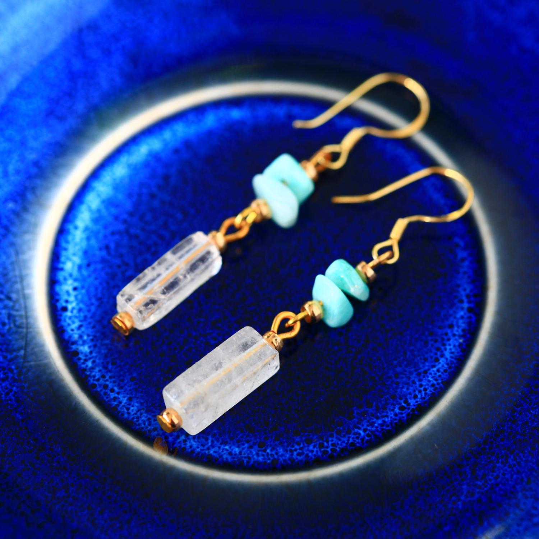 透水天藍-透明白(純銀針天然石耳環-手工訂製)