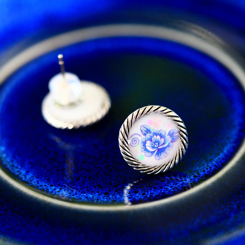 復古玫瑰-銀白(純銀針耳環-手工訂製)