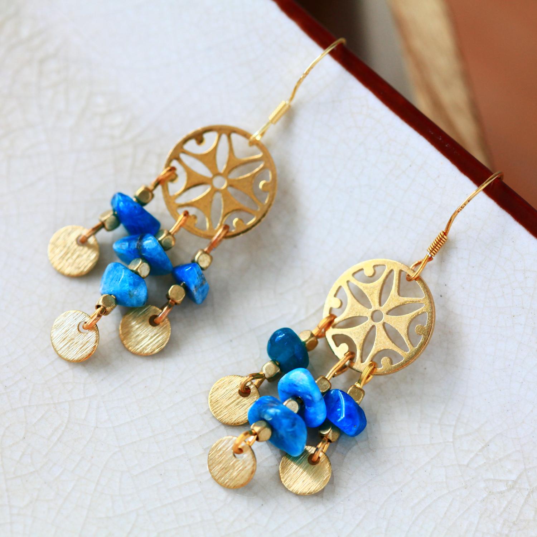 天水色-海水藍(純銀針天然石耳環-手工訂製)