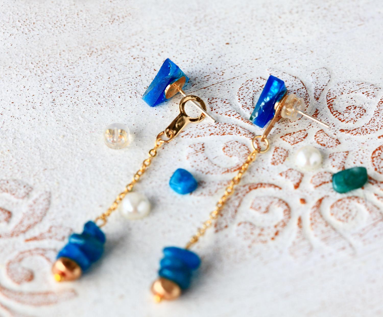 Molla 山海水色-海水藍(純銀針天然石耳環-手工訂製)
