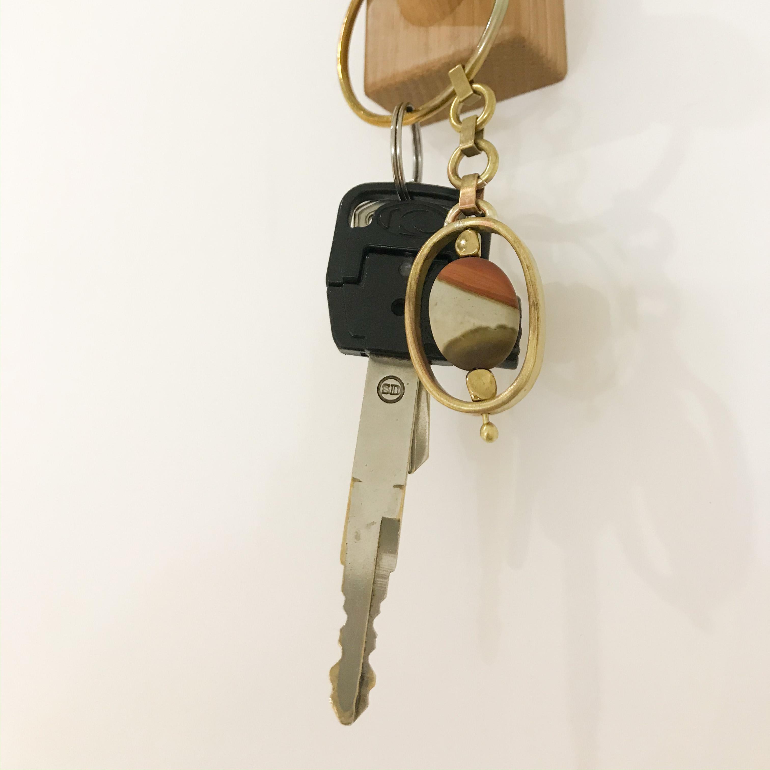 黃銅鑰匙圈佐美國圖畫石