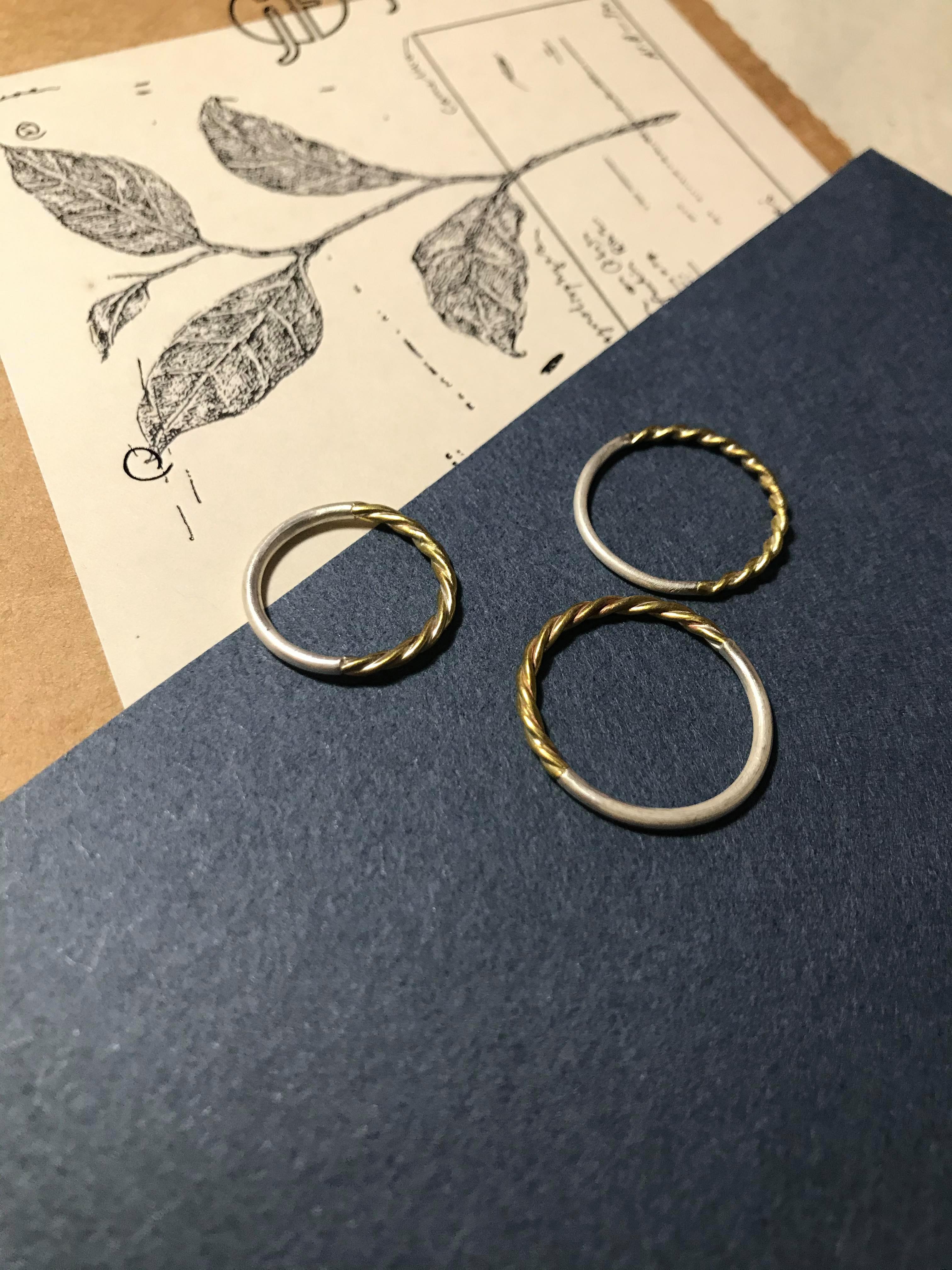 雙色拼接戒指 黃銅麻花