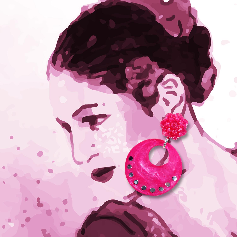 Molla小圓婁空玫瑰耳環-玫紅(FLAMENCO佛朗明哥舞者最愛-純銀針手工訂製)