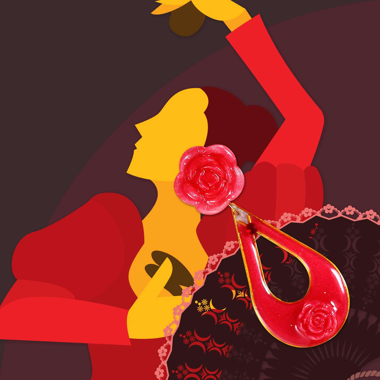 Molla 大玫瑰婁空水滴耳環-大紅(FLAMENCO佛朗明哥舞者最愛-純銀針手工訂製)