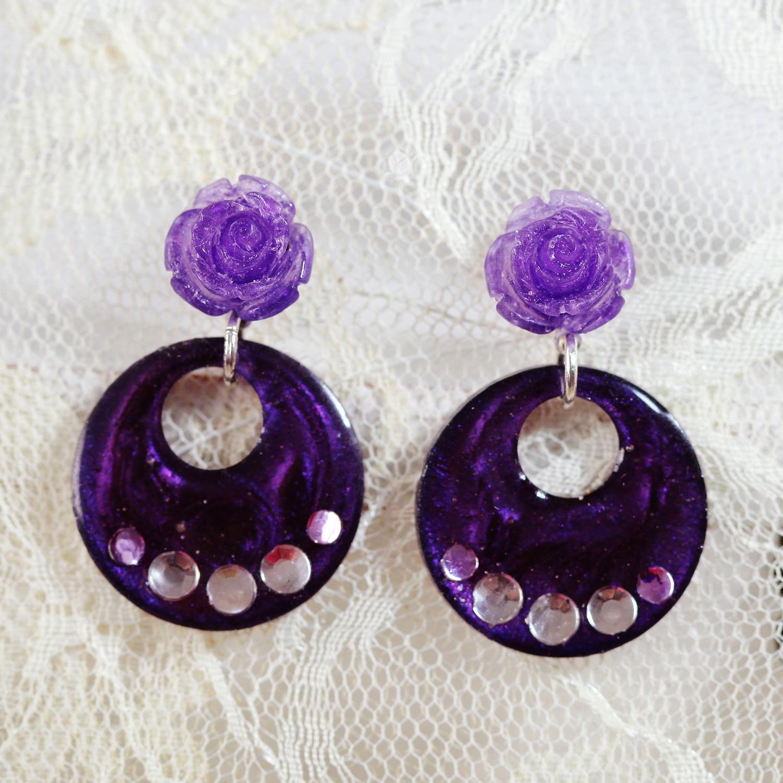 Molla 小圓婁空玫瑰耳環-桔梗紫(FLAMENCO佛朗明哥舞者最愛-純銀針手工訂製)