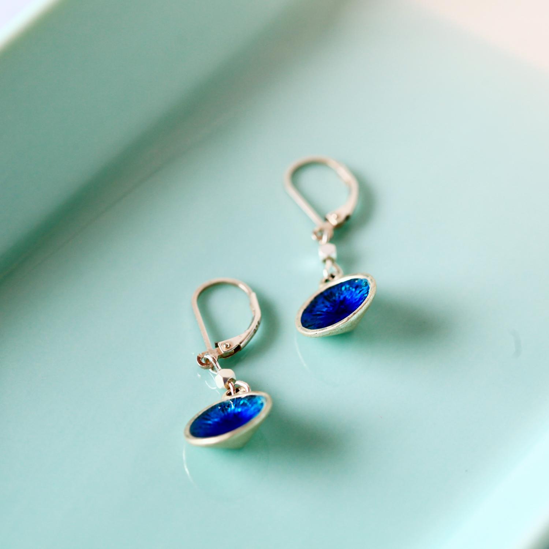 Molla 小圓水藍藏銀復古耳環(純銀針耳環-手工訂製)