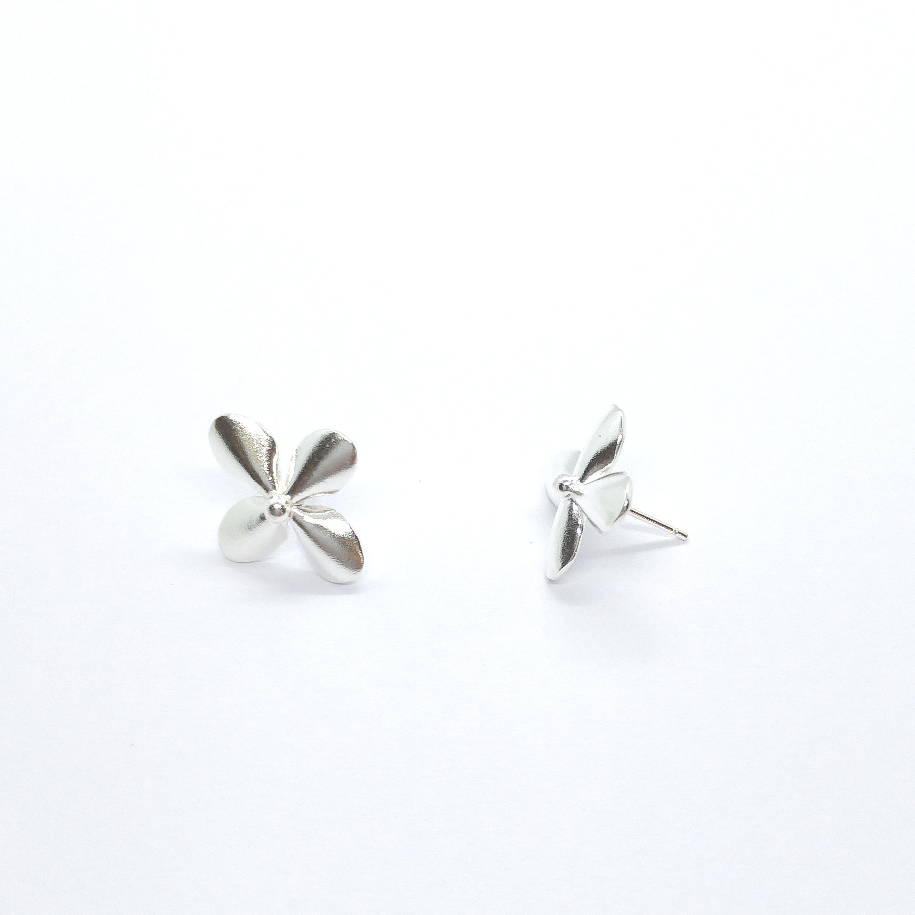 四花瓣 925銀耳環