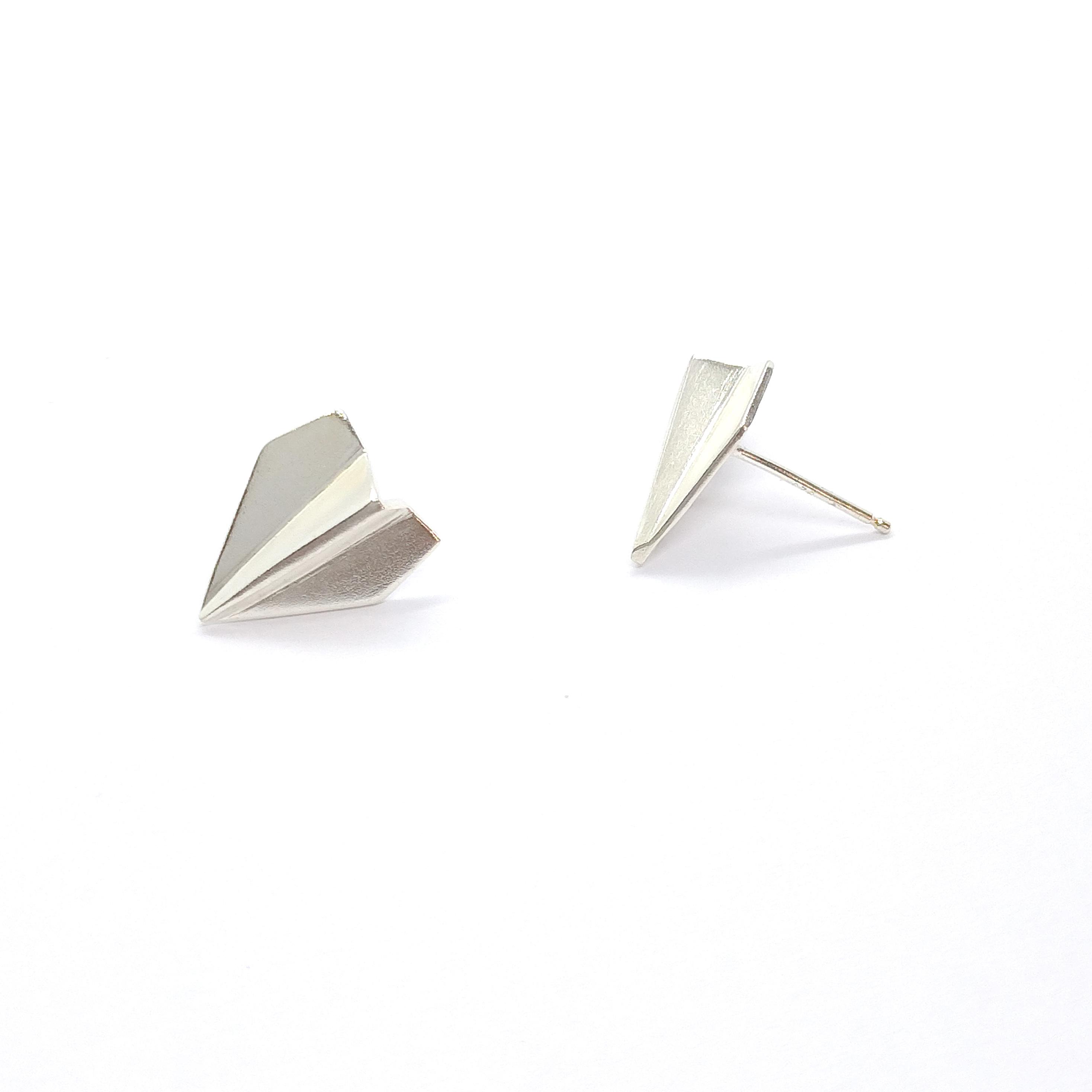 小小紙飛機 925銀耳環
