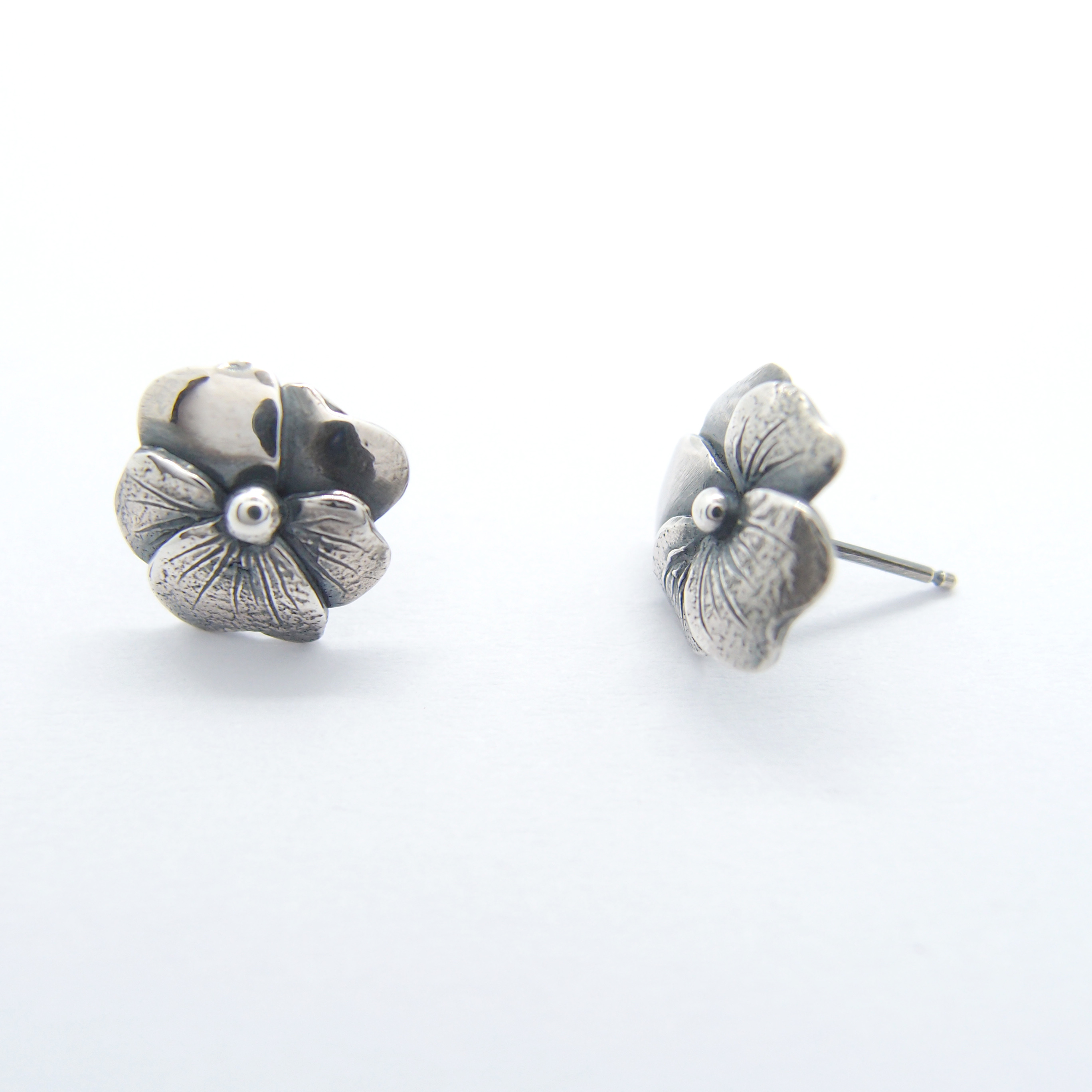 三色堇 925銀耳環