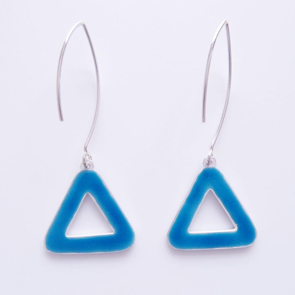 三角循環 純銀雕金琺瑯耳環