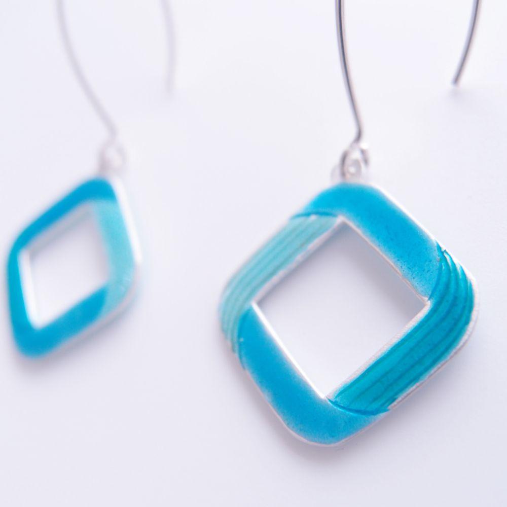 菱無限 純銀雕金琺瑯耳環