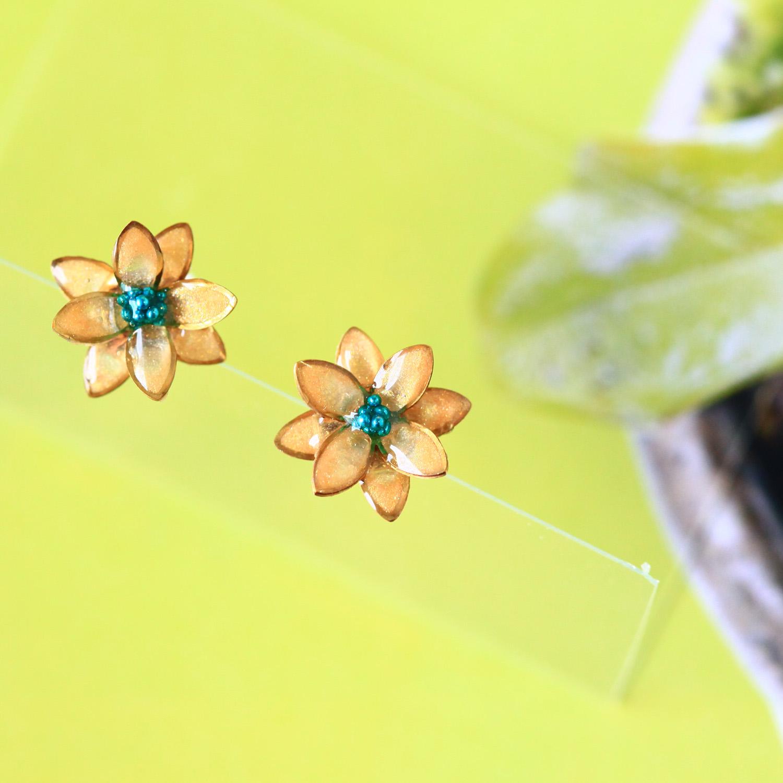 Molla 花園裡的小黃花耳環(純銀針手作訂製耳環)