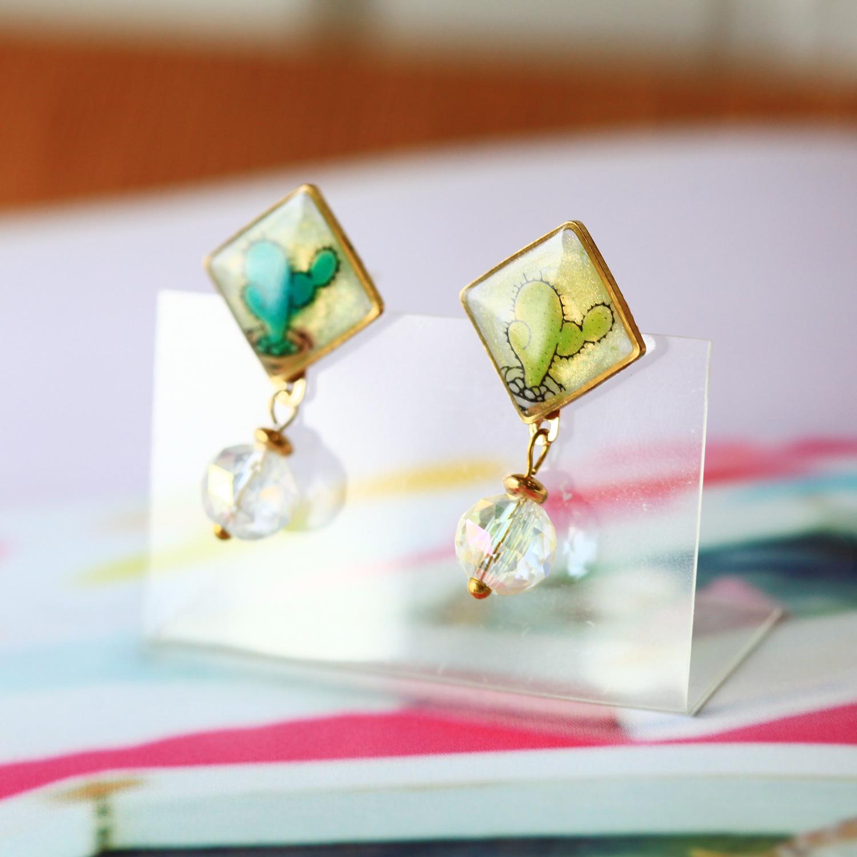 Molla X idecor 小方兩用就是可愛仙人掌耳環(純銀針耳環-手工訂製)