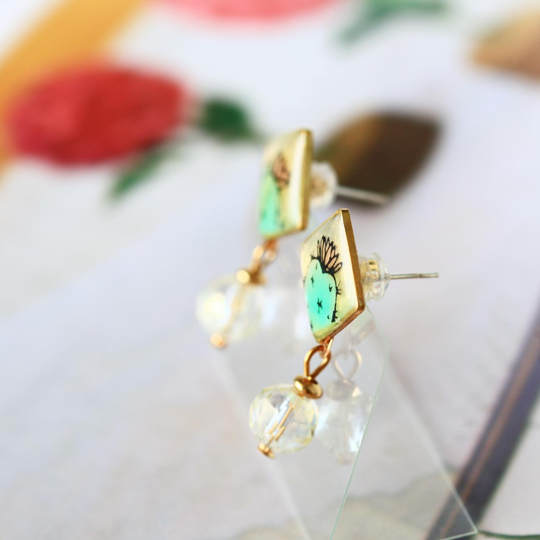Molla X idecor 小方兩用手繪仙人掌耳環(純銀針耳環-手工訂製)